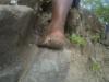 Marlon hikes barefoot