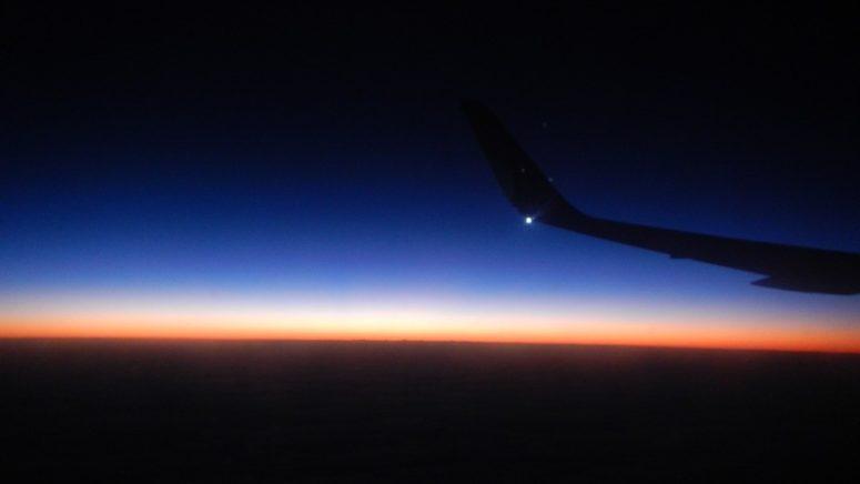 Sunrise over the coast of South America