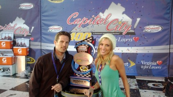 Rozlyn Papa and I in Victory Lane at the Capital City 400 in Richmond, Virginia