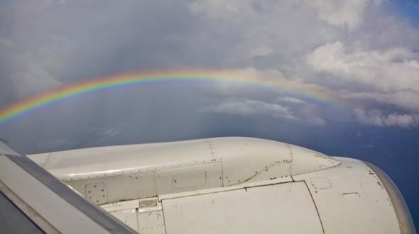 St. Maarten Rainbow from Plane