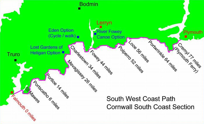 South West Coast Path Map - Cornwall England