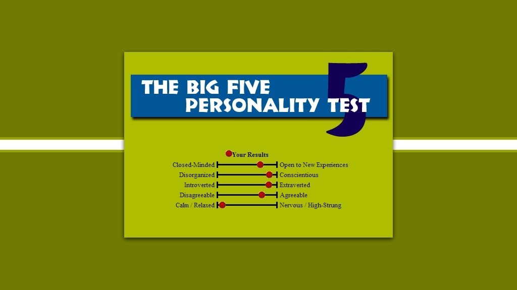 big five personality test Top 5 things to seek in someones personality there are five special personality characteristics that form part of the personality test model and these five traits in.
