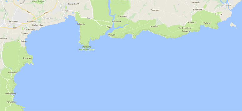 Google Map of Mevagissey to Looe