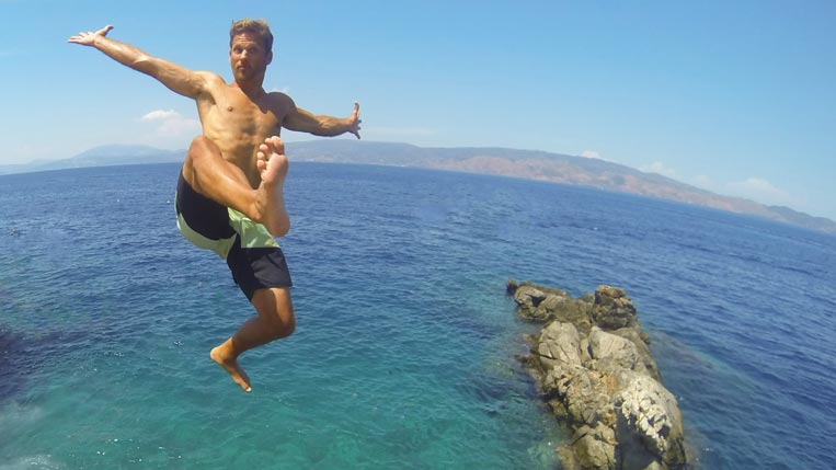 Hydra Island Cliff Jump in Greece