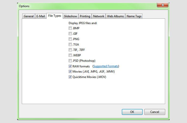 Picasa Options Screen